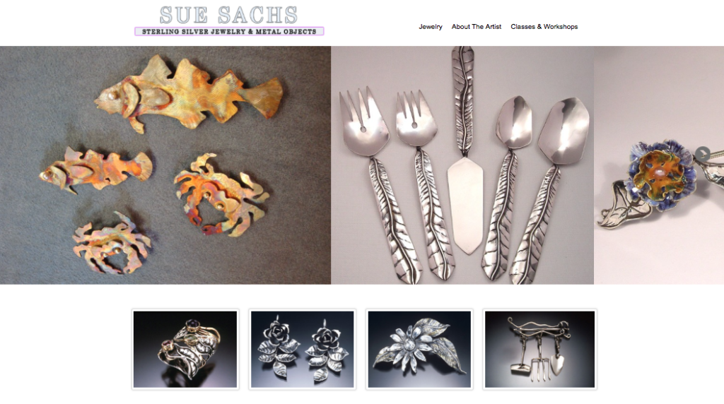 Homepage for a sterling silversmith